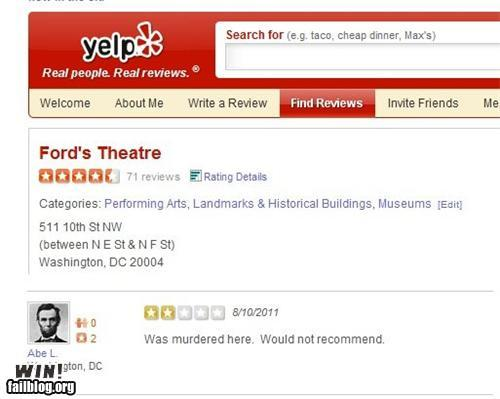 A Lincoln reviews Ford's Theater experience -- didn't like it