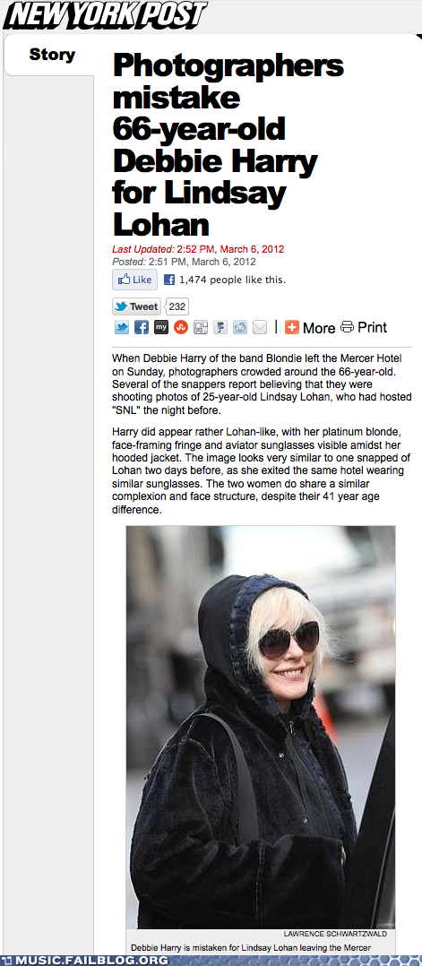 Paparazzi mistake Deborah Harry for Lindsay Lohan