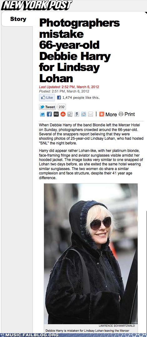 Paparazzi mistake Deborah Harry for Lindsay Lohan