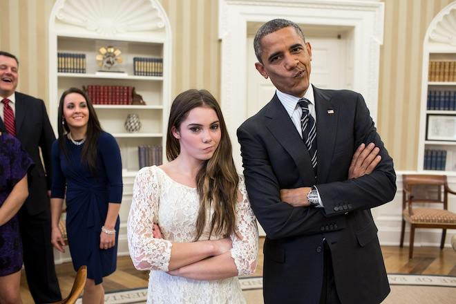 Obama and McKayla Maroney doing the not-impressed face