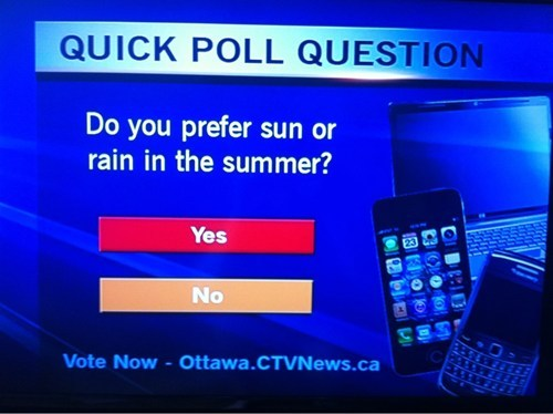 "From an Ottawa television station: ""Do you prefer sun or rain in summer? Yes or No?"
