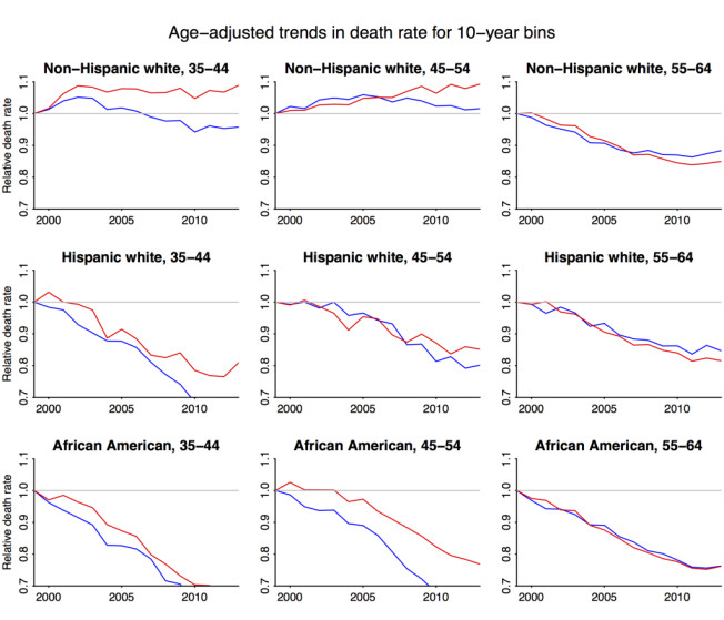 Mortality rates for different U.S. ethnic groups