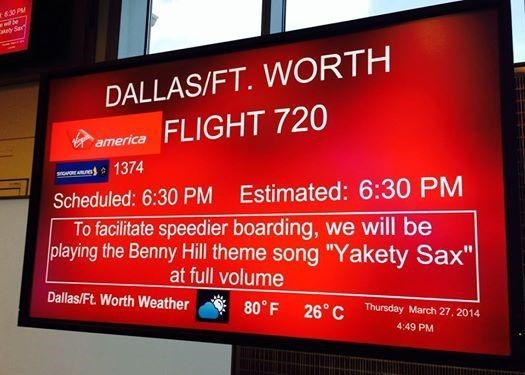 "Says that the Benny Hill theme song ""Yakety Sax"" will be played to encourage rapid boarding."